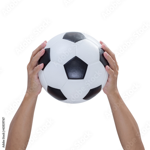 Soccer ball in hands isolated on white background, clipping path