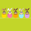 5 Cute Easter Rabbits Sunglasses Eggshells Green