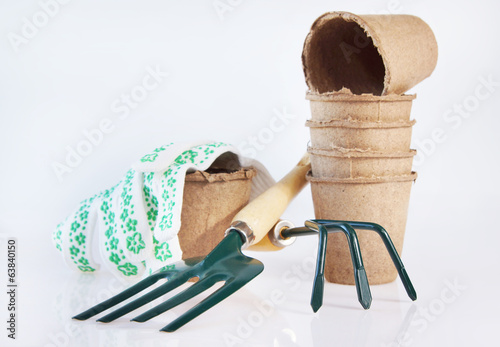 Gardening equipment on white background