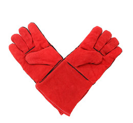 Red warm gloves.