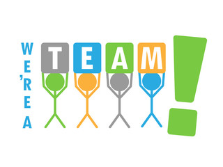 """WE'RE A TEAM!"" graphic (teamwork business project management)"