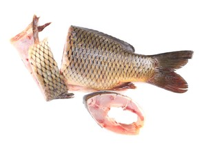 Fillet and tail of fresh raw fish carp.