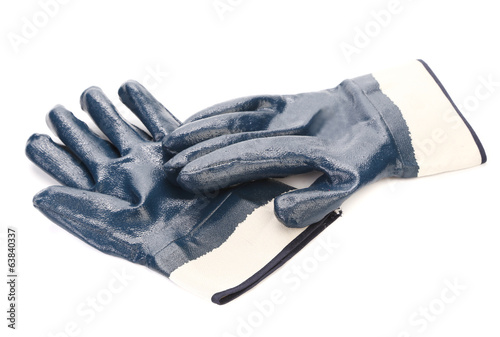 Rubbers protective blue gloves.