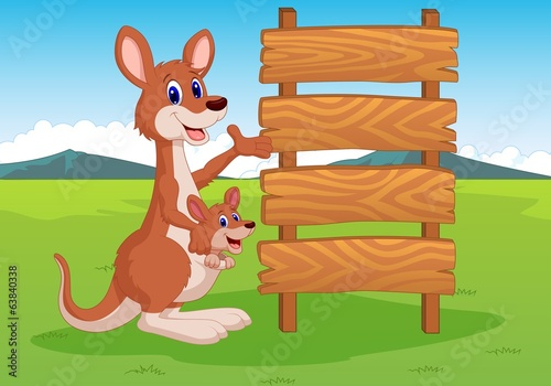 illustration of kangaroo and wooden sign