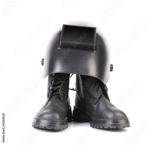 Welding mask and pair boots.