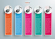 5 Colored Oblong Banners Music Notes