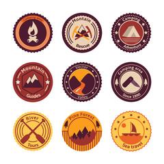 Outdoors tourism camping flat badges