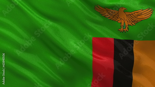 Flag of Zambia waving in the wind - seamless loop