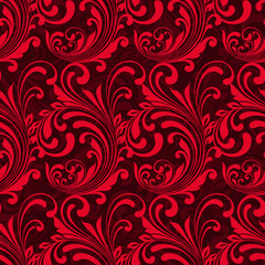 Bright red ornamental seamless pattern