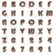 old metal alphabet on white background