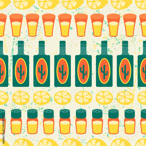 Mexican seamless pattern with tequila in native style.