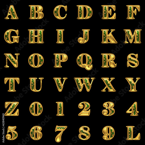 golden alphabet on black background