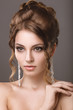 canvas print picture - Beautiful woman with evening make-up and hairstyle