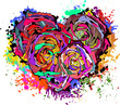 Abstract colorful heart of roses.