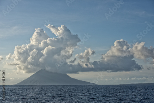 Bunaken Volcano on turquoise tropical waters