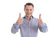 Erfolgreicher junger Business Mann - beide Daumen hoch