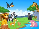 Cute African safari animal cartoon characters scene
