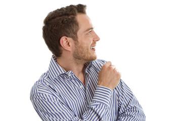 Geschäftsmann isoliert blickt lachend zur Seite