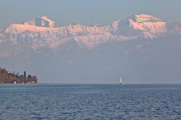 sailing boat on the lake Thun, Switzerland