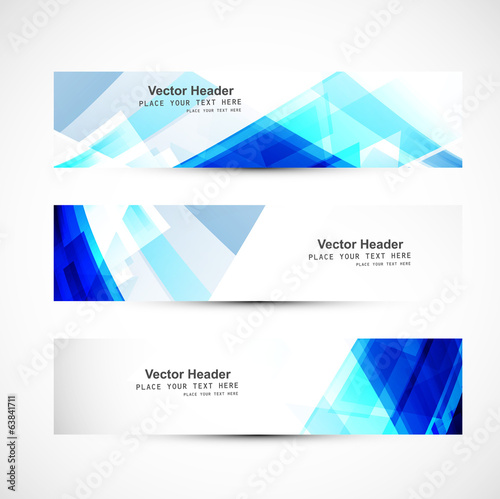 Abstract blue wave three header set whit background vector desig