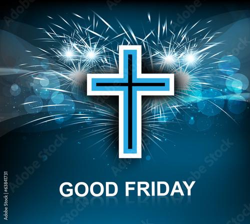 Good Friday for Jesus cross on blue colorful background vector
