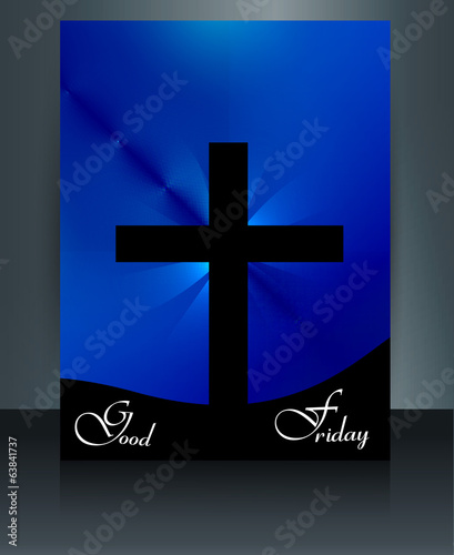 Good Friday colorful brochure template for Jesus cross  vector