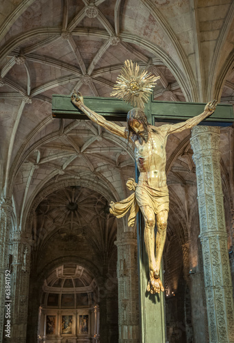 Christ Crucified sculpture in Jeronimos Monastery, Lisbon, Portu