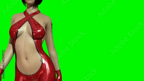 Hot Girl in sexy Latex Dress walk  -  green screen