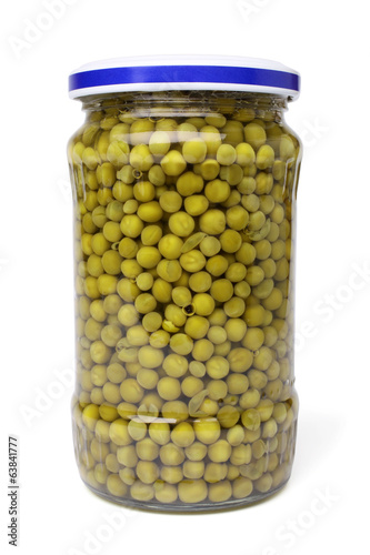 Preserved peas in glass jar