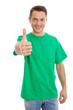 Mann in grün isoliert mit Daumen oben