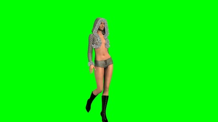 Hot Girl in sexy Dress walk  -  green screen