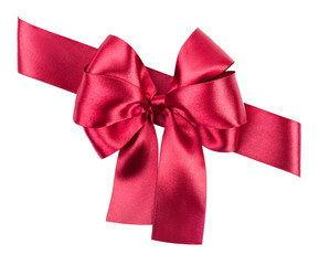 red bow made from silk ribbon isolated