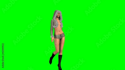 Hot Girl in sexy Dress walk  -  green screen