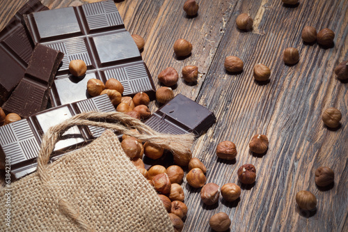 Dark chocolate and nuts