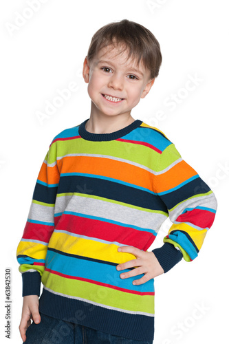 Young boy in a striped sweater
