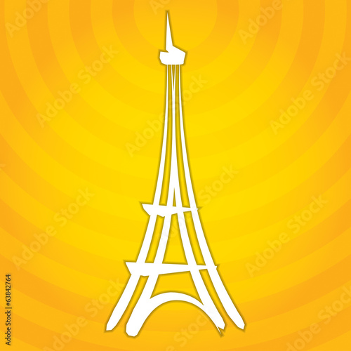 Hand-drawn abstract Eiffel tower