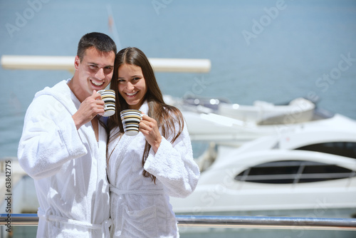 canvas print picture young couple on yacht