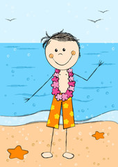 Happy Hawaii boy on sea background
