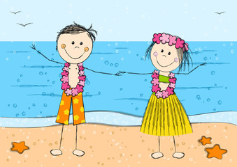 Happy Hawaii couple on sea background