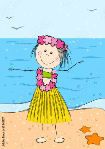 Happy Hawaii girl on sea background