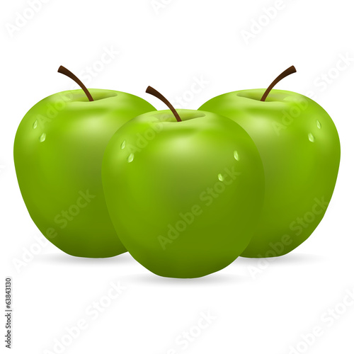 three green apples with water drops