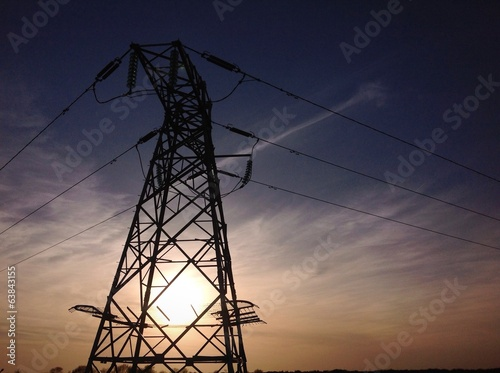 sunset silhouette power lines