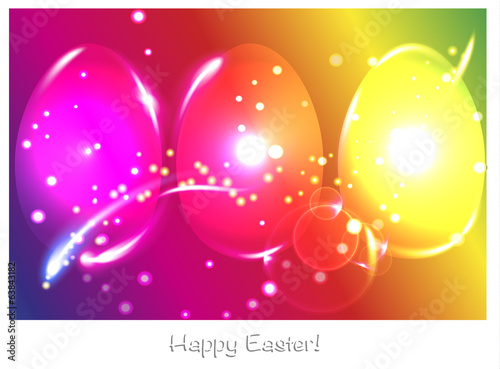 Set of neon shine happy easter eggs on colorful background