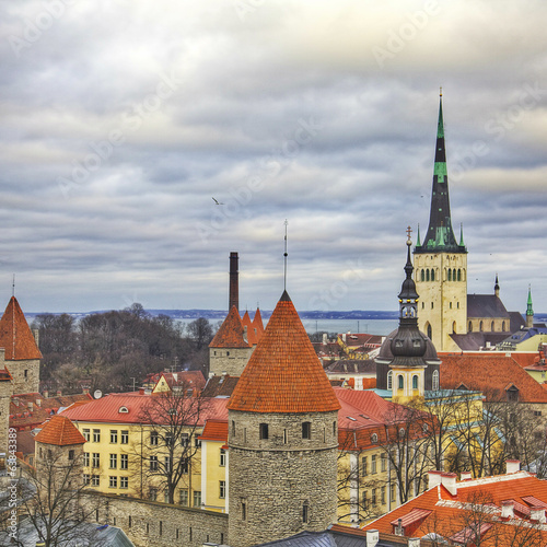 Estonia, Tallinn, View of the historical district of the city
