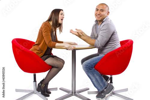 rude interracial couple on a bad date