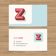 Business card with alphabet letter Z.