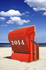 2014 Strandkorb rot Himmel Meer