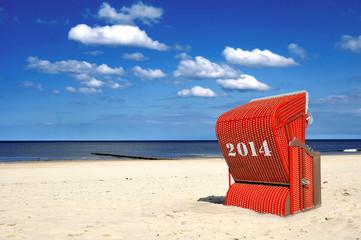 2014 Strandkorb rot Himmel Meer Urlaub