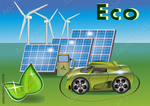 Banner Ecology car , solar panels .wind eletrostantsii