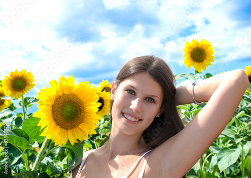 Pretty woman with sunflowers :)